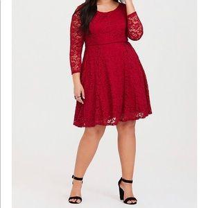 Torrid Holiday Red Skater Dress - Size 0